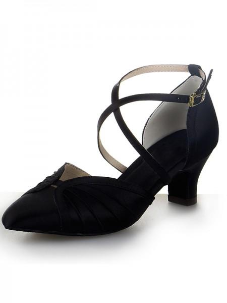 Women's Closed Toe Satäng Chunky Heel Buckle Dansskor