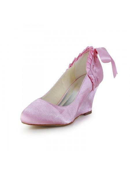 Women's Unique Satäng kilar Heel Closed Toe Pink Bröllop Skor