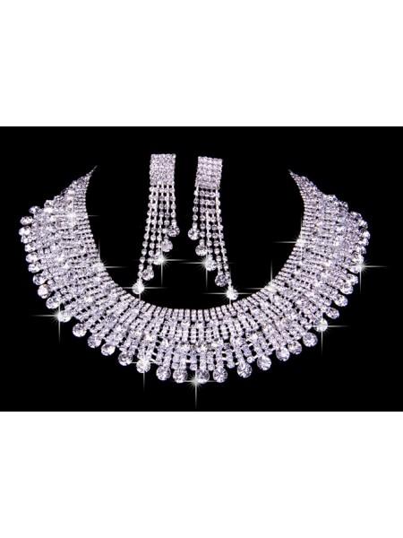Very Elegant Czech Rhinestones Wedding Necklaces Earrings Set