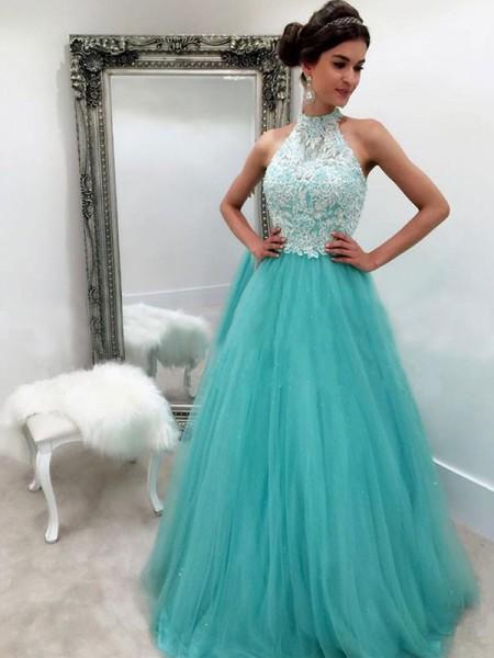 A-Line/Princess Halter Sleeveless Floor-Length Lace Tulle Dresses