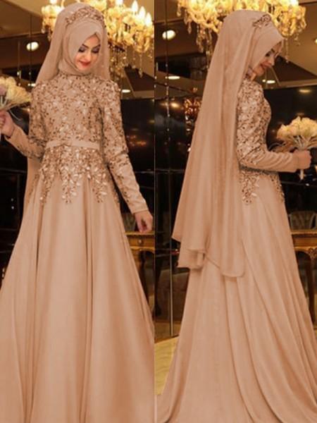 A-Line/Princess High Neck Long Sleeves Floor-Length Beading Chiffon Dresses