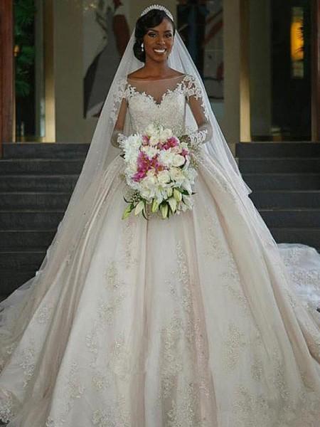 Stora Bateu Långa ärmar Sweep släp Applikation Satäng Bröllopsklänningar