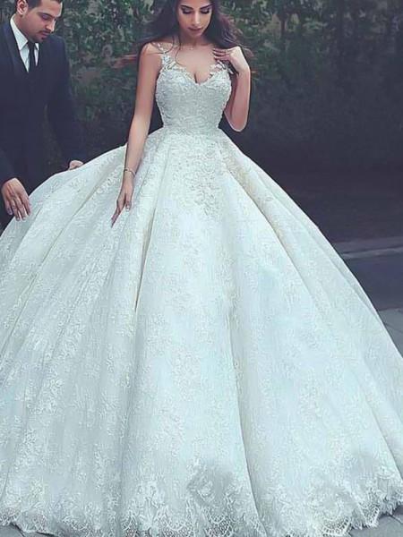Stora Smala axelband Ärmlös Sweep släp Spetsar Tyll Bröllopsklänningar