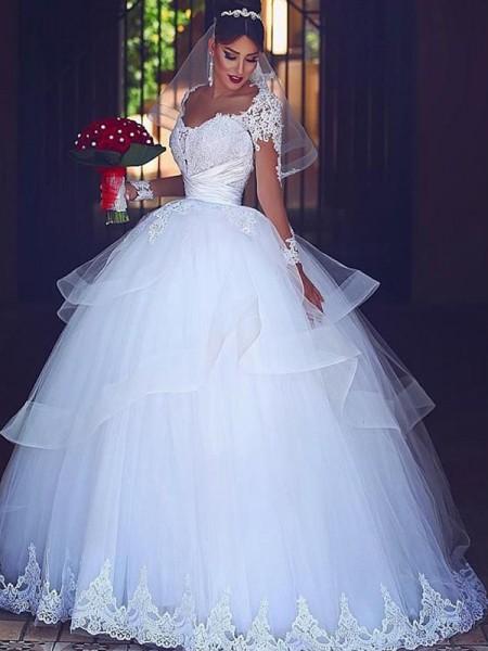 Stora Hjärtformad Långa ärmar Golvläng Spetsar Tyll Bröllopsklänningar