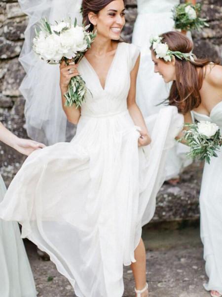 A-linjeformat V-ringning Ärmlös Golvläng Rufsar Chiffong Bröllopsklänningar