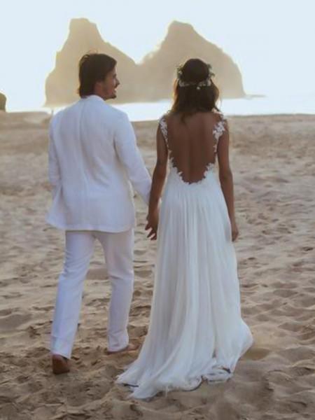 A-linjeformat Smala axelband Ärmlös Sweep släp Spetsar Chiffong Bröllopsklänningar