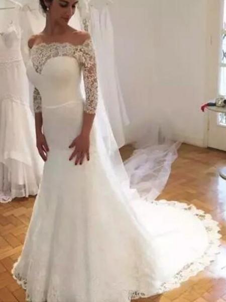 Trumpet/Sjöjungfru Off-shoulder ringning 3/4 Ärmar Sweep släp Rufsar Spetsar Bröllopsklänningar