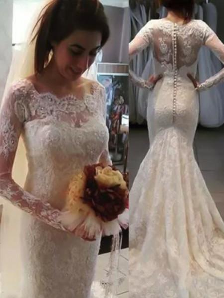 Trumpet/Sjöjungfru Bateu Långa ärmar Sweep släp Applikation Spetsar Bröllopsklänningar